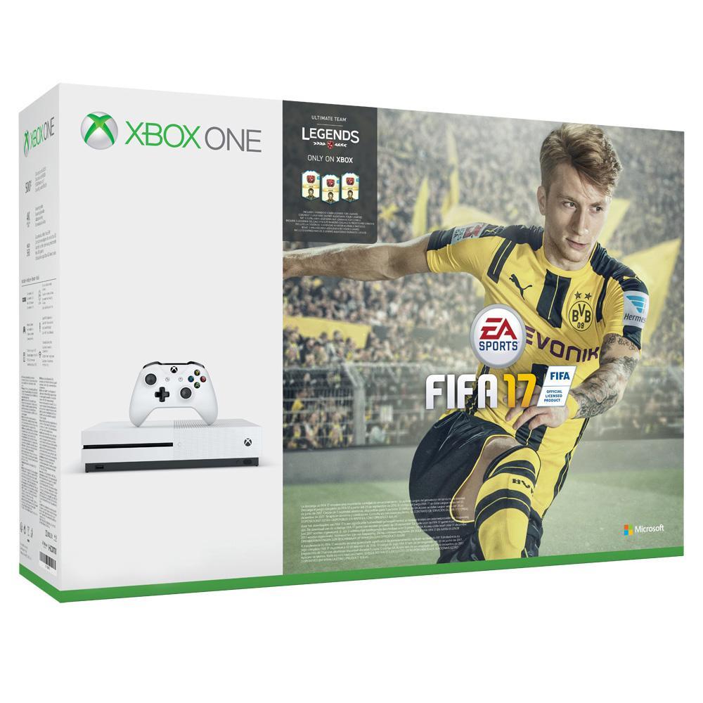 Pack console Microsoft Xbox One S 1To + FIFA 17 (Démtérialisé) + Gears of War + Forza + 20€ offerts en chèque Cadeau (Adhérents)