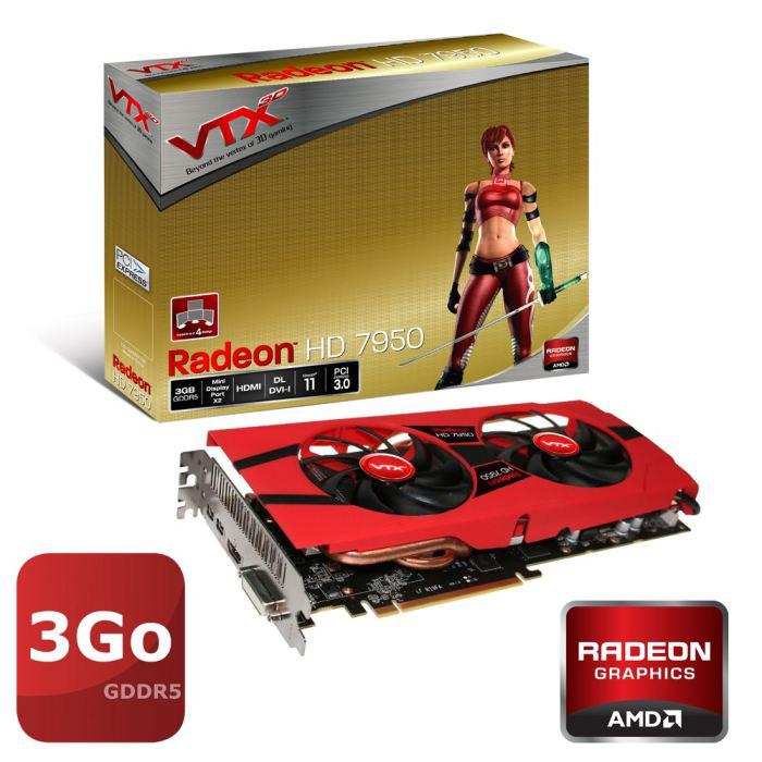 Carte graphique VTX3D AMD HD7950 +  4 Jeux