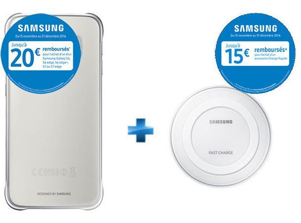 Pack Coque Samsung Galaxy S6 Argent/Transparent + Chargeur à induction Blanc (via ODR de 20€ + 15€)