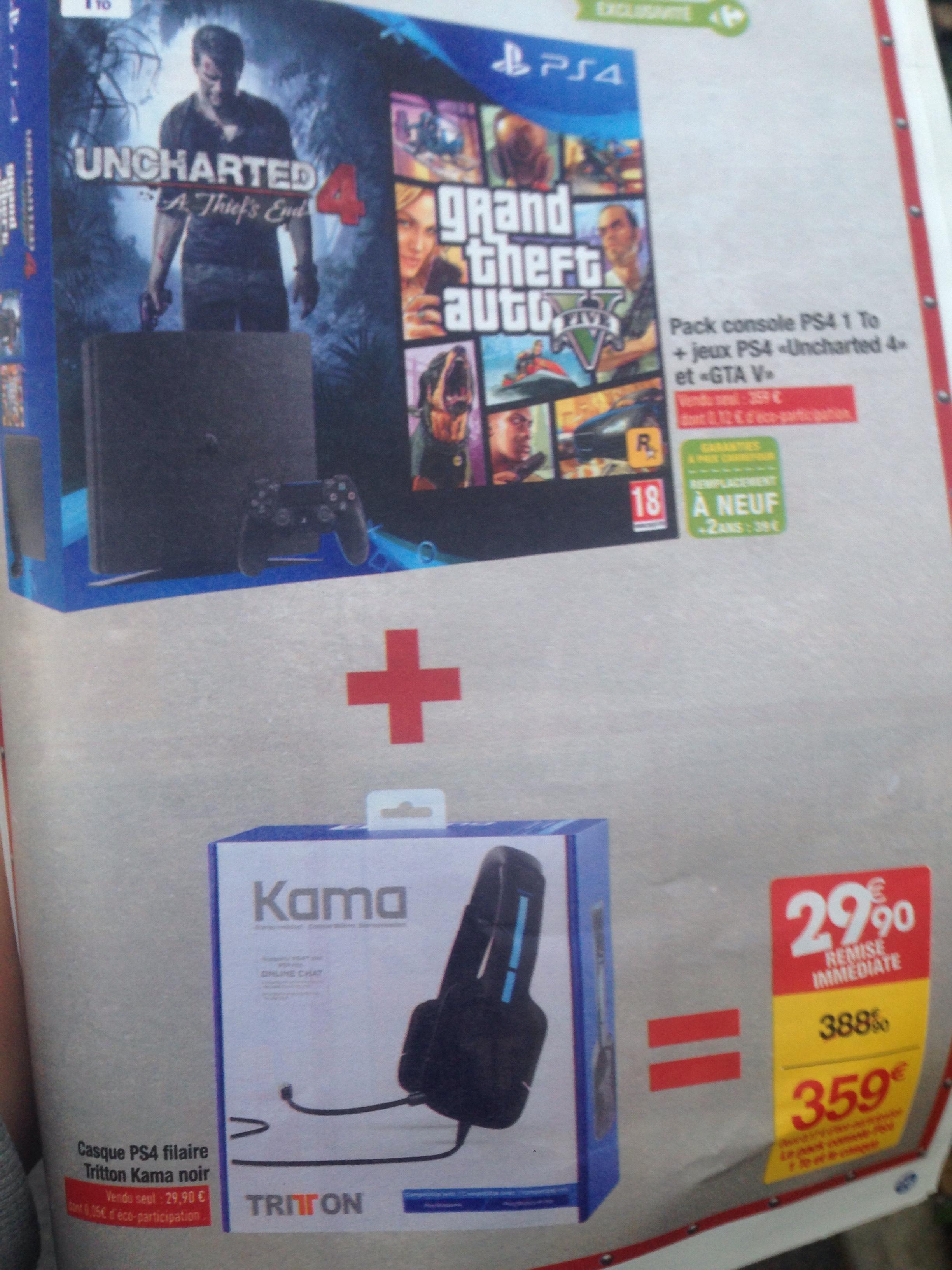 Console PS4 Slim 1 To + GTA 5 + Uncharted 4 + Casque Triton Kama