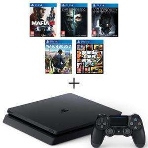 Console Sony PS4 Slim 500 Go + Mafia III + Dishonored 2 + Dishonored Definitive Edition (DLC) + Watch Dogs 2 + GTA V