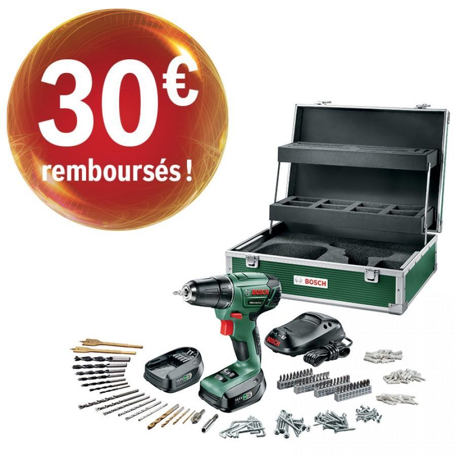 Pack perceuse visseuse bosch PSR 14.4 Li + 2 batteries + malette métal et 241 accessoires (avec ODR de 30€)