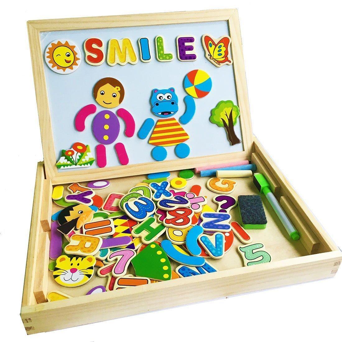 Jouets éducatifs en Bois Planche à Dessin Magnetique avec Boîte Puzzle Blocs Tableau YIXIN