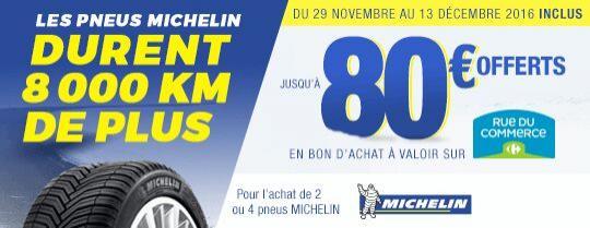 Jusqu'à 80€ offerts en bon d'achat chez rueducommerce pour l'achat de pneus Michelin - Ex : 15€ offerts en bon d'achat pour l'achat de 2 pneus Michelin inférieurs à 16 pouces