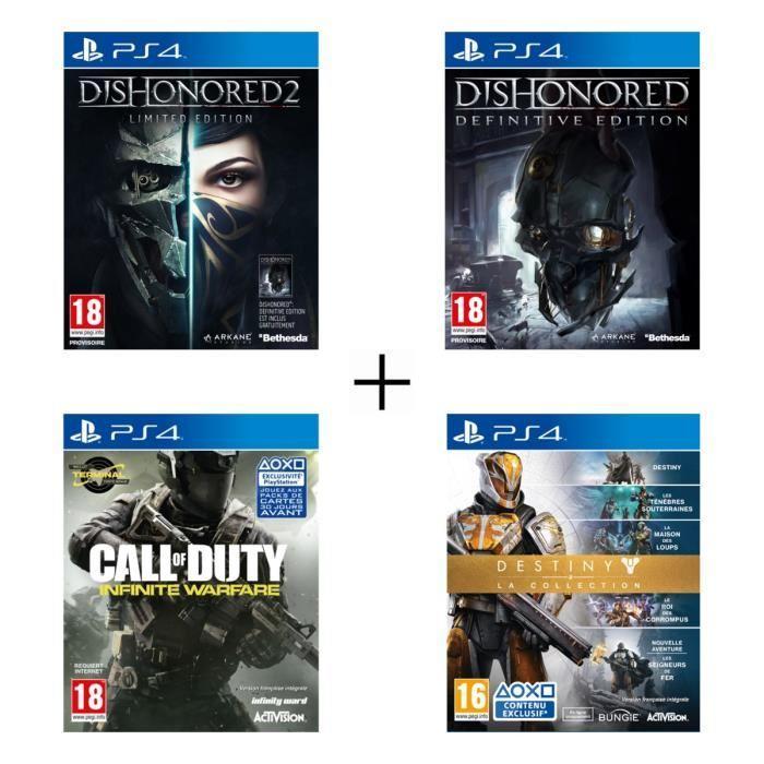 Sélection de packs de jeux PS4 - Ex : Pack de 4 jeux PS4 : Dishonored 2 + Dishonored Definitive Edition + Call of Duty : Infinite Warfare + Destiny : La Collection