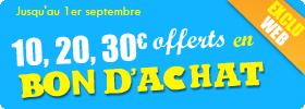 10€ offerts en bon d'achat à partir de 6,90€ de commande
