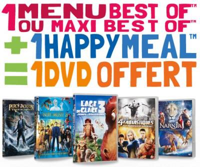 1 DVD offert pour l'achat d'un Best of + un Happy meal