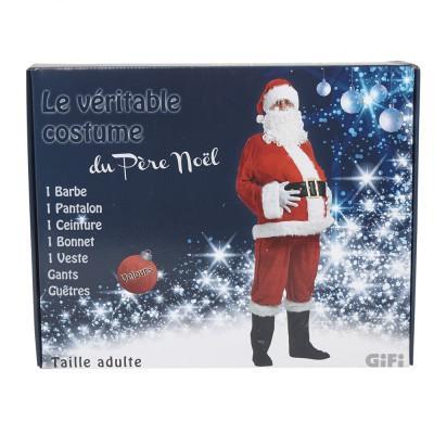 Déguisement du Père Noël (1 pantalon + 1 veste + 1 ceinture + 1 bonnet + 1 barbe + des gants et guêtres)