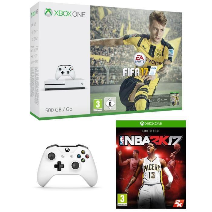 Pack Console Microsoft Xbox One S 500 Go + FIFA 17 + NBA 2K17 + 2ème manette