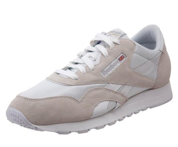Chaussures Sneakers Reebok Classic Nylon pour Hommes - Blanc/Gris (tailles 42.5 à 48.5)