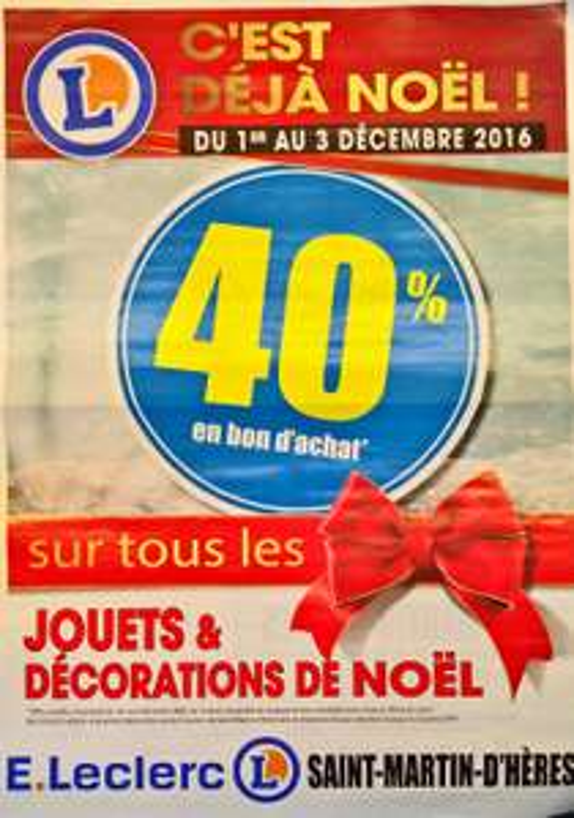 40% offerts en bon d'achat sur tous les jouets et décorations de Noël