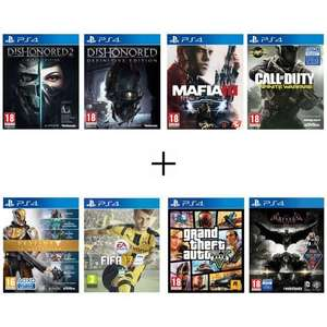 Lot de 8 jeux PS4 - Batman: Arkham Knight + Call of Duty: Infinite Warfare + Destiny : La Collection + Dishonored - Definitive Edition + Dishonored 2 + GTA V + Mafia III + PES 17
