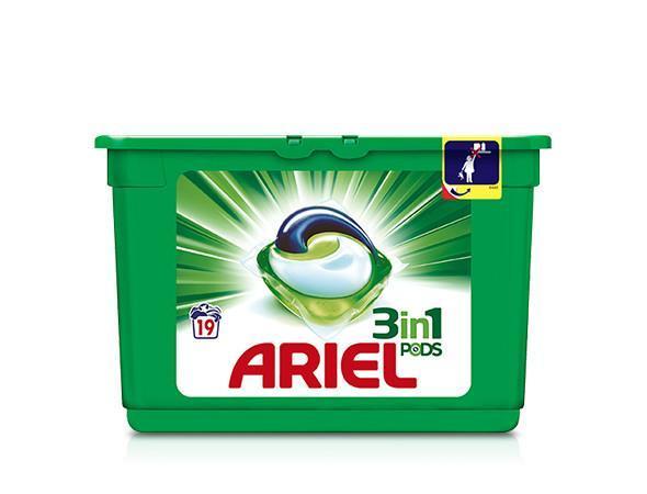 [Carte Monoprix] Lot de 2 boites de 19 doses de capsules de Lessive Ariel Pods 3-en-1 (Via BDR + Quoty)