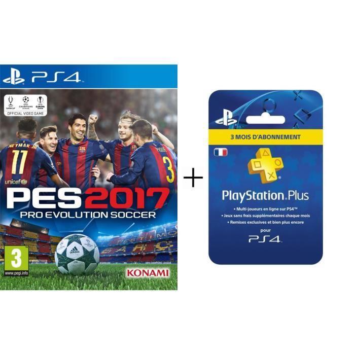 Jeu PES 2017 sur PS4 + Abonnement 3 mois au PSN