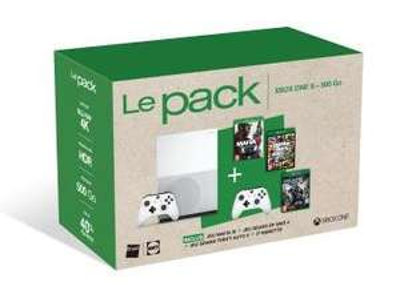 Pack Fnac Console Xbox One S 500 Go + Mafia III + GTA V + Gears of War 4 + Manette Sans fil Blanche