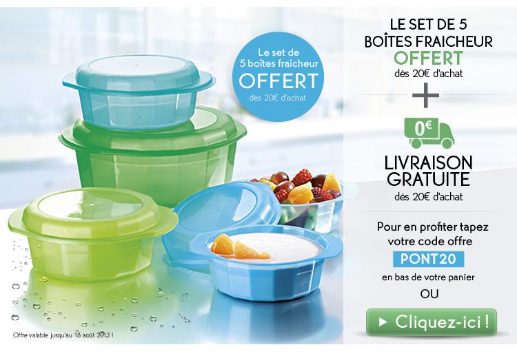 5 Boites fraicheurs + 2 bain douches nature + FDP gratuit pour commande supérieure à 10€