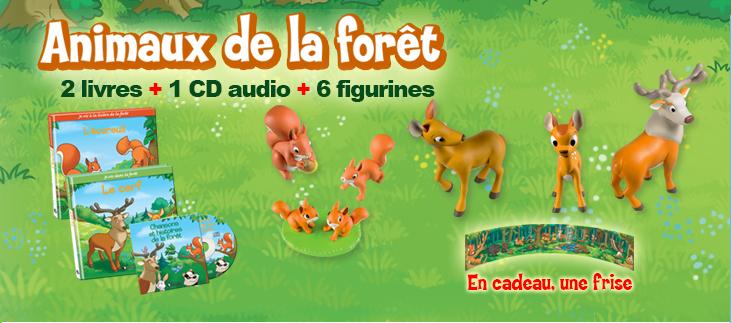 Animaux de la forêt: 2 livres + 1 CD audio + 6 figurines + 1 frise