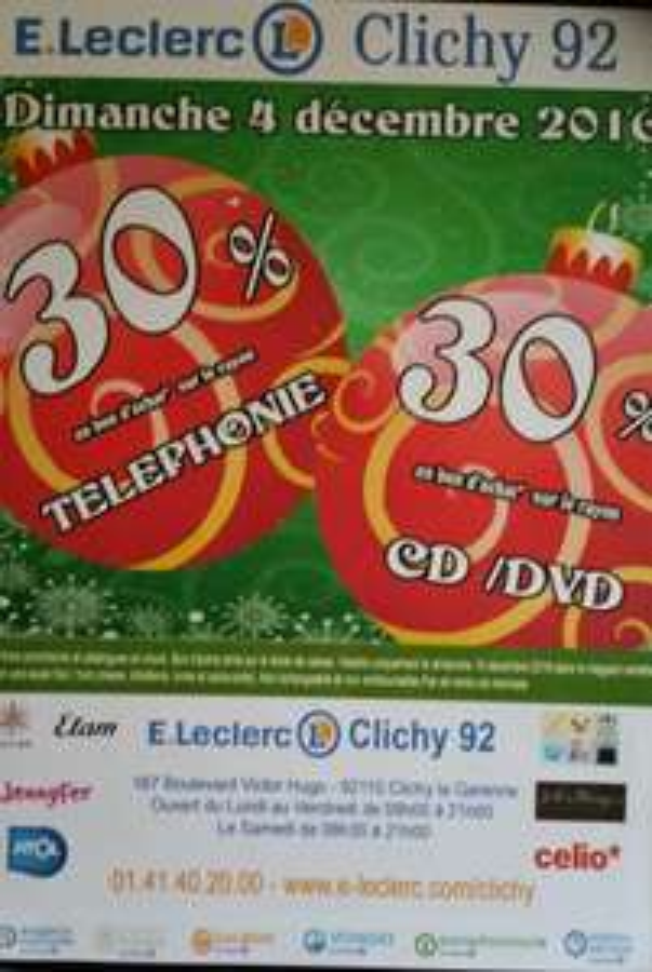 30% offerts en bon d'achat sur les rayons Téléphonie et CD/DVD