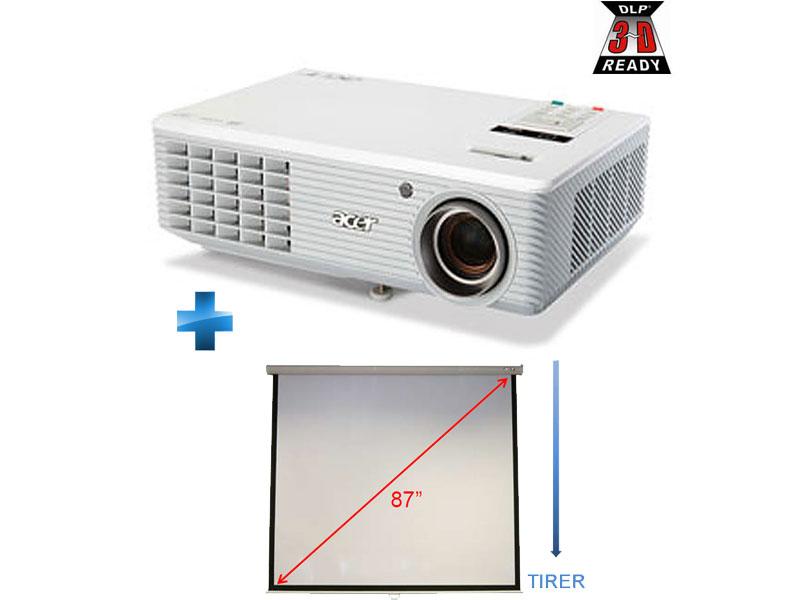 Vidéoprojecteur DLP Acer H5360BD 720p 16/9 HD-Ready 3D Ready + Ecran de projection manuel 4/3 Acer M87-S01MW 220cm
