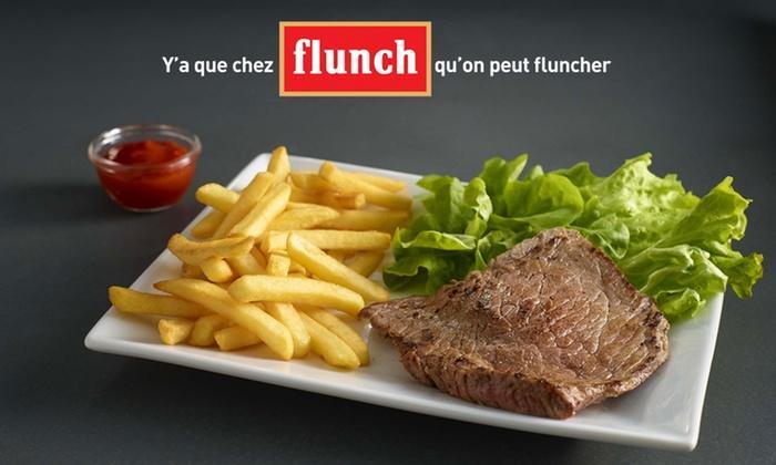 Bon de réduction de 10€ valable pour toute addition minimum de 20€ chez Flunch (midi et soir)
