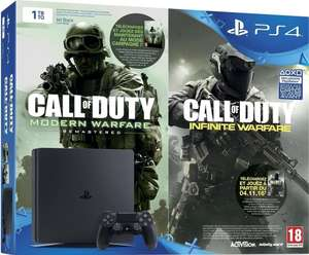 Pack Console PS4 Slim - 1To + Call of Duty : Infinite Warfare (Dématérialisé) + Modern Warfare Remastered (Dématérialisé)