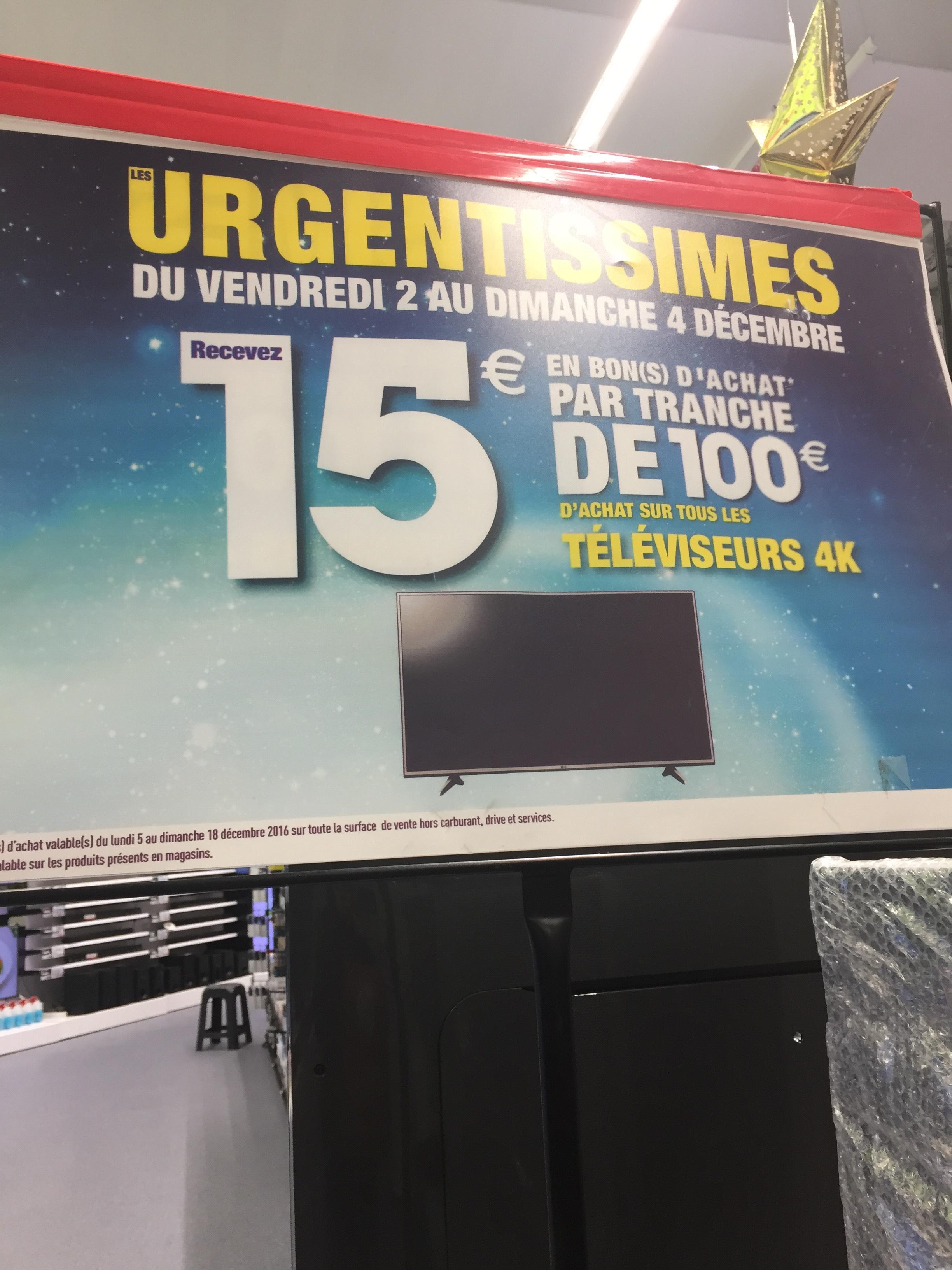 [MAJ]15€ offerts en bon d'achat par tranches de 100€ d'achat sur tous les téléviseurs 4K