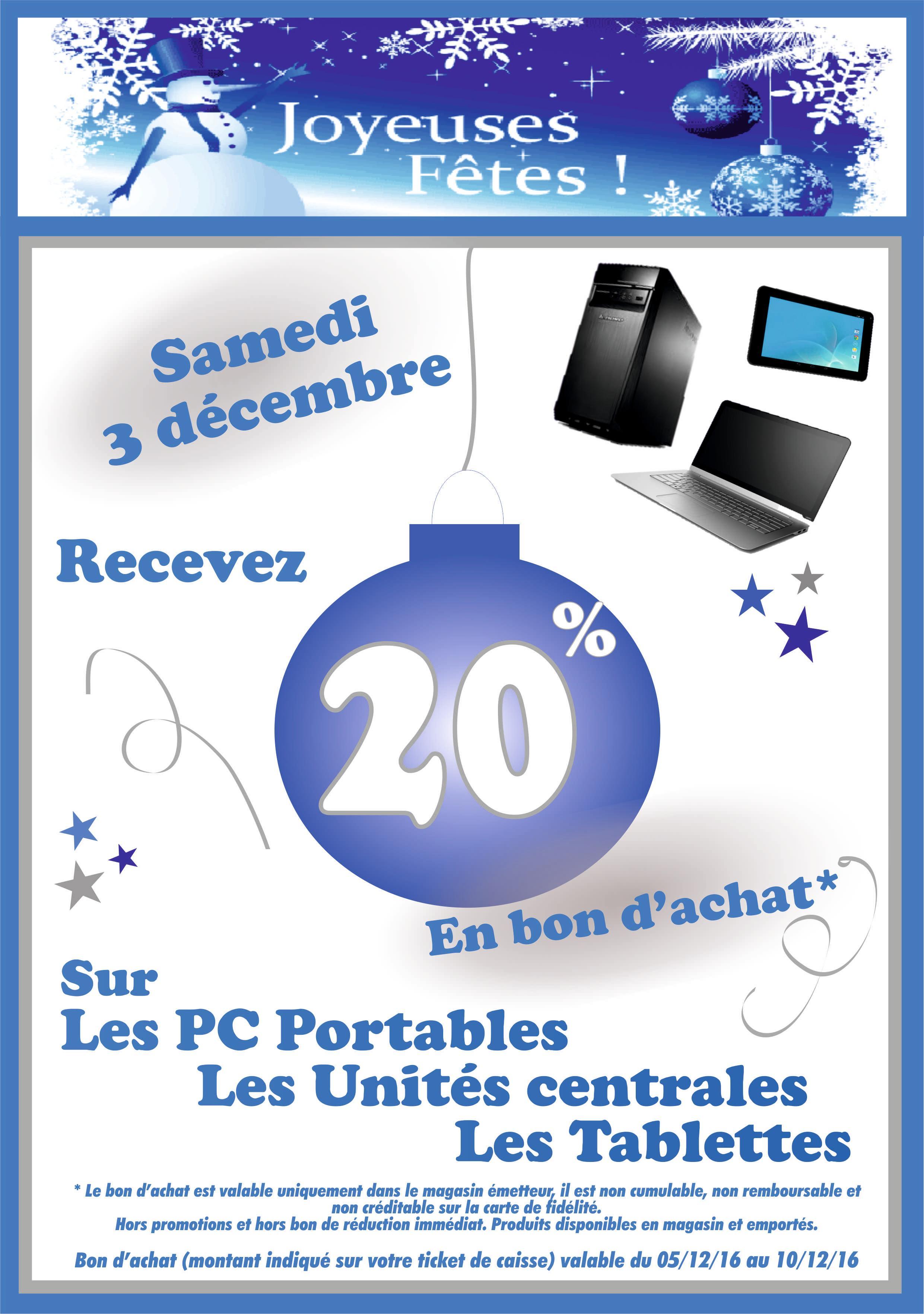 20% offerts en bon d'achat sur les PC et tablettes
