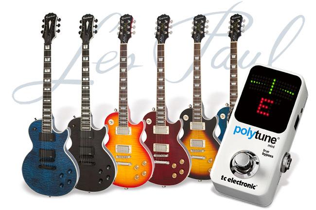 pour l'achat d'une guitare électrique Epiphone Les Paul Tribute ou Prophecy = Accordeur TC Electronic Polytune Mini offert (Valeur 75€)