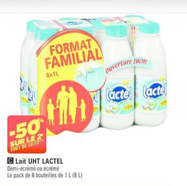2 packs de 8 bouteilles de lait Lactel à 9€ soit la bouteille