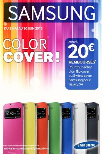 20€ remboursés pour l'achat d'un Flip Cover ou S-view Cover pour Galaxy S4 / S4 Mini. Ex : Flip Cover Gratuit