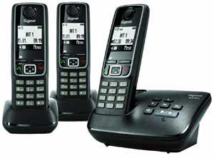 Téléphone sans fil DECT Gigaset A420A Trio avec répondeur et 2 combinés supplémentaires