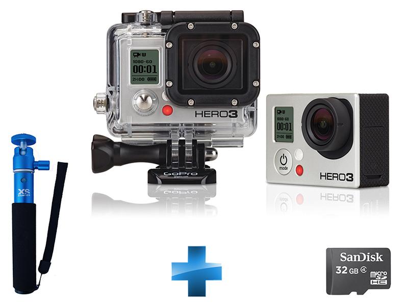 Pack Caméra GoPro HD Hero3 Black Edition + Monopod U-SHOT 2 + Carte Micro SDHC 32 Go