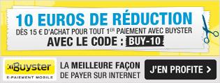 10€ de remise dès 15€ d'achats, via Buyster (Port inclus)