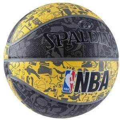 Ballon de basket Spalding NBA Graffiti - Taille 7, Noir/Jaune