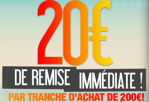 -20€ de réduction par tranche de 200€ d'achats (Ex : Panasonic DMC-GF 5 KEF Rouge + 14-42 mm à 219€)