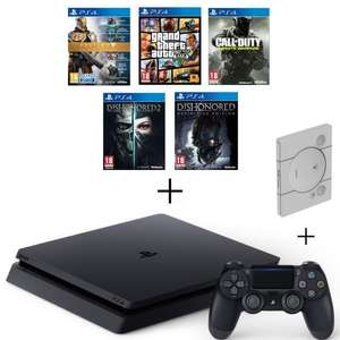 Pack console Sony PS4 Slim (500 Go) + Call of Duty: Infinite Warfare + Destiny: La Collection + Dishonored - Definitive Edition + Dishonored 2 + GTA V + steelbook