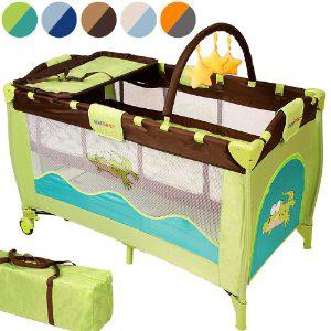 Lit bébé parapluie pliant sur roulettes Infantastic avec matelas, accessoires et sac de transport