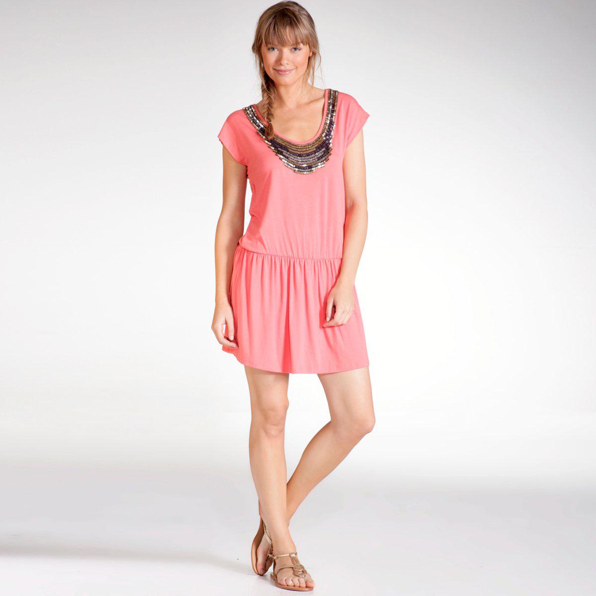 Robe tunique brodée manches courtes couleur corail