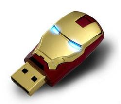 Clef USB LED Iron Man 16Go USB 2.0 (Couleur or ou argent)