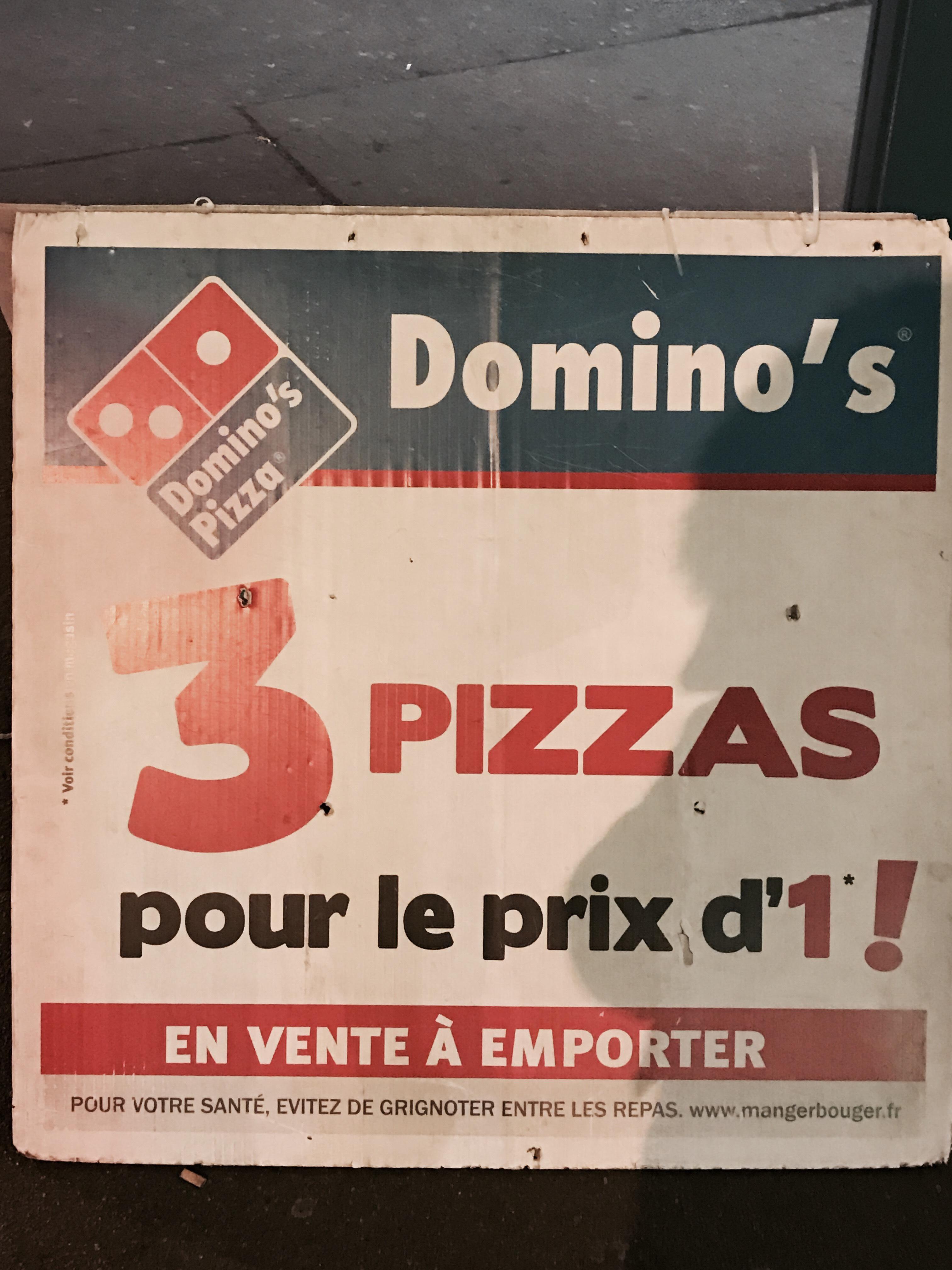 3 pizzas pour le prix d'une à emporter