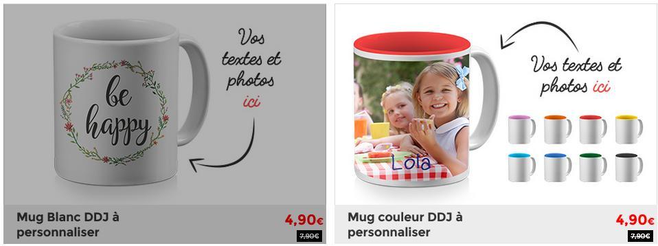 Mug à personnaliser avec Photo et Textes - Coloris au choix