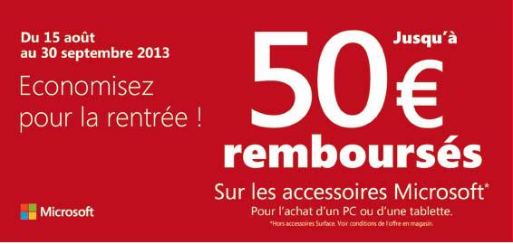 ODR 10 € OU 25€ OU 50€  remboursés pour l'achat d'un PC ou tablette Windows + un accessoire Microsoft