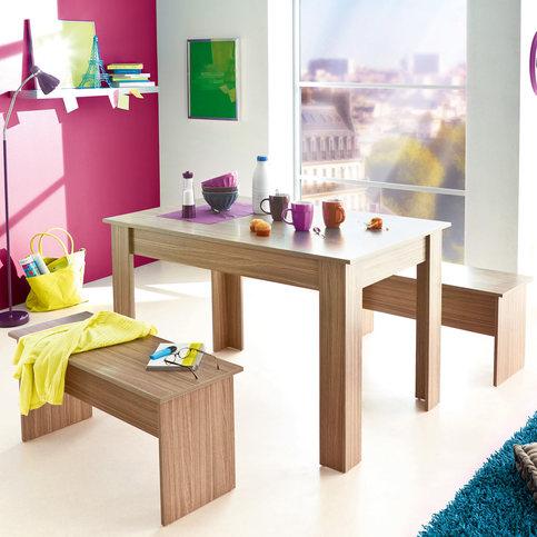 Ensemble table + 2 bancs  chêne gris