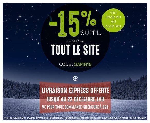 15% de réduction sur tout le site + Livraison express offerte