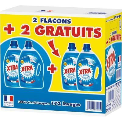 Lot de 4 Bidons de Lessive Liquide X Tra Total - 4x3L