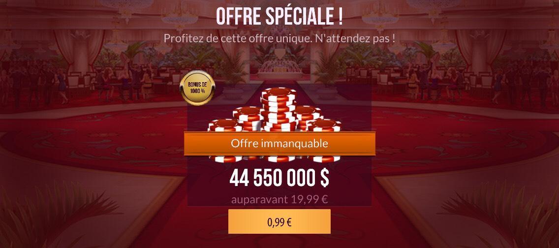44 550 000$ de jetons sur Zynga Poker (via l'application)