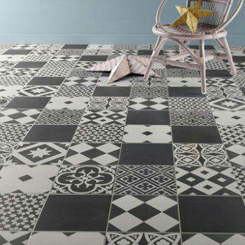 Carrelage sol et mur noir et blanc effet ciment Gatsby - 20x20cm, le m²