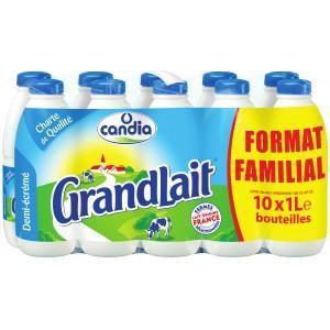 Lot de 2 packs de 10 bouteilles de 1 litre de lait UHT demi-écrémé grandlait