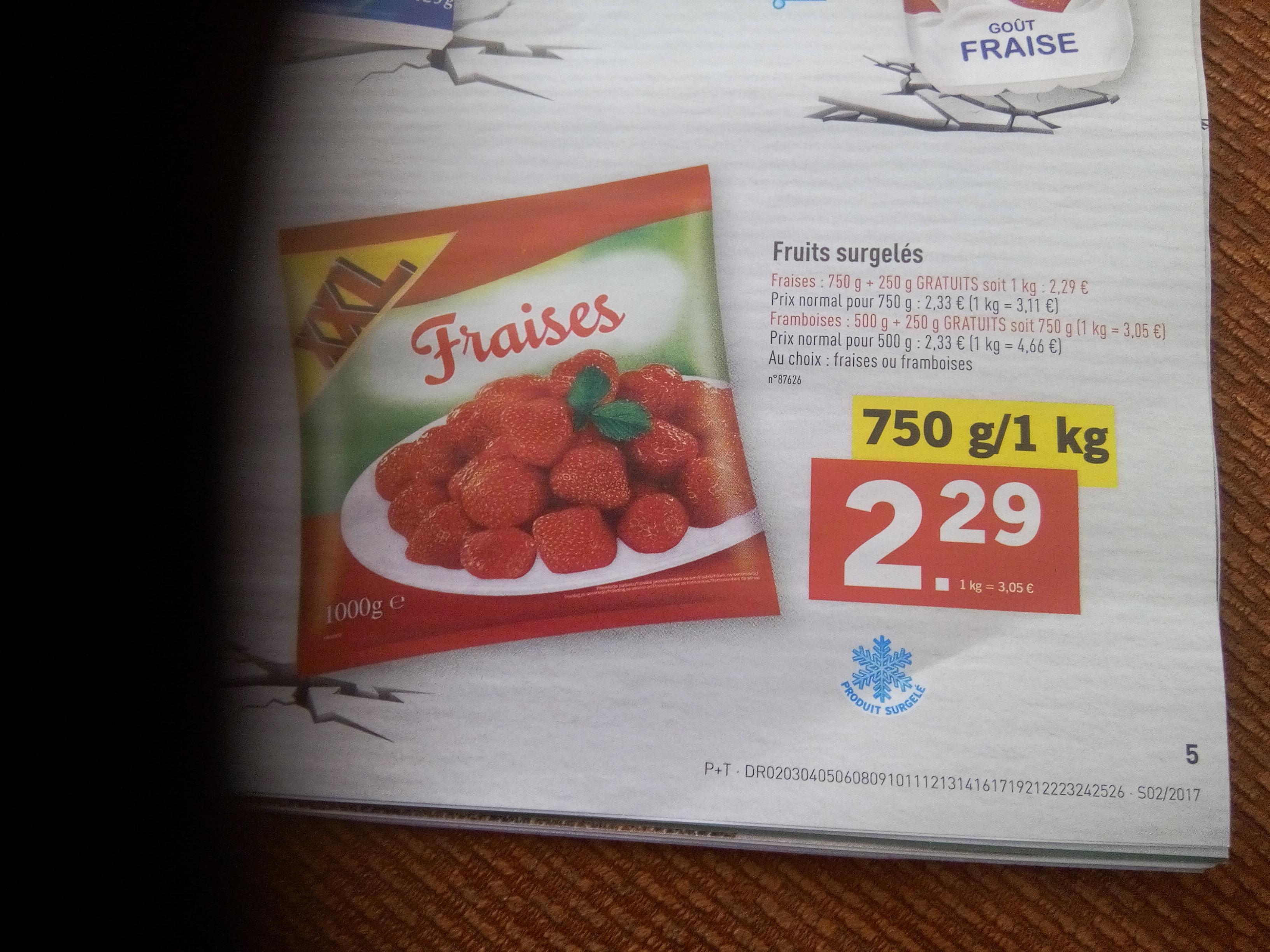 Le kilo de fraises surgelées