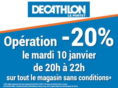 20% de réduction sur tout le magasin mardi 10 janvier de 20h à 22h